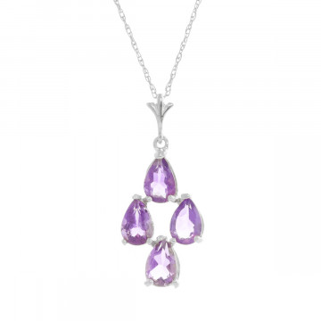 Amethyst Chandelier Pendant Necklace 1.5 ctw in 9ct White Gold