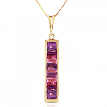 Amethyst Channel Set Pendant Necklace 2.25 ctw in 9ct Gold
