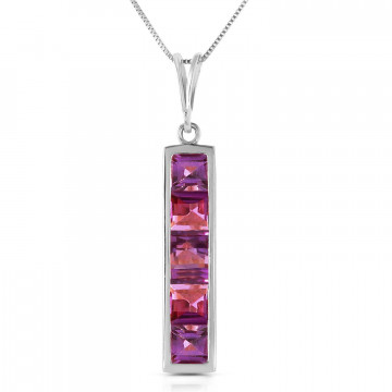 Amethyst Channel Set Pendant Necklace 2.25 ctw in 9ct White Gold