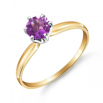Amethyst Crown Solitaire Ring 0.65 ct in 9ct Gold