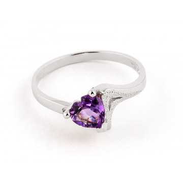 Amethyst Devotion Ring 0.75 ct in 9ct White Gold