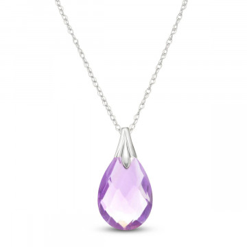 Amethyst Dewdrop Pendant Necklace 3 ct in 9ct White Gold