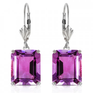Amethyst Drop Earrings 13 ctw in 9ct White Gold