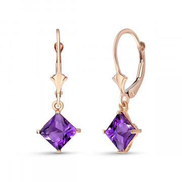 Amethyst Drop Earrings 3.2 ctw in 9ct Rose Gold