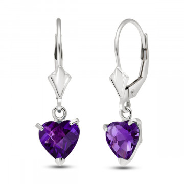 Amethyst Drop Earrings 3.25 ctw in 9ct White Gold