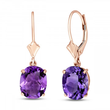 Amethyst Drop Earrings 6.25 ctw in 9ct Rose Gold