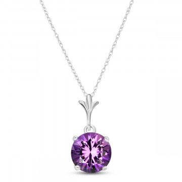 Amethyst Drop Pendant Necklace 1.15 ct in 9ct White Gold