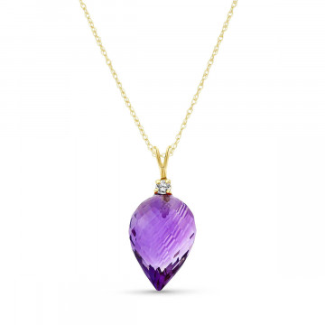 Amethyst Drop Pendant Necklace 9.55 ctw in 9ct Gold