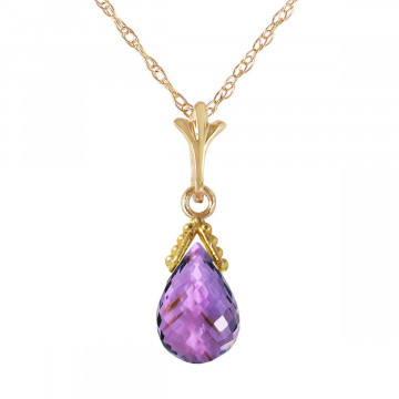 Amethyst Droplet Pendant Necklace 2.5 ct in 9ct Gold