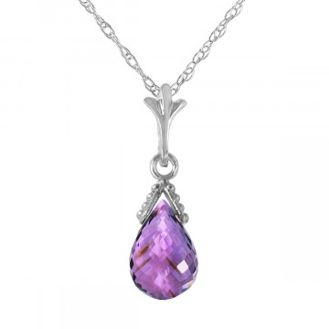 Amethyst Droplet Pendant Necklace 2.5 ct in 9ct White Gold