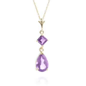 Amethyst Droplet Pendant Necklace 2 ctw in 9ct Gold