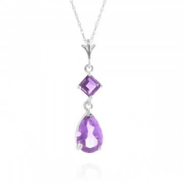 Amethyst Droplet Pendant Necklace 2 ctw in 9ct White Gold
