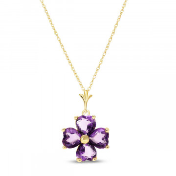 Amethyst Four Leaf Clover Pendant Necklace 3.8 ctw in 9ct Gold