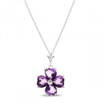 Amethyst Four Leaf Clover Pendant Necklace 3.8 ctw in 9ct White Gold