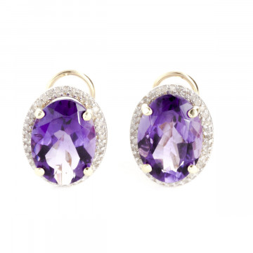 Amethyst French Clip Halo Earrings 10.56 ctw in 9ct Gold
