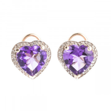 Amethyst French Clip Halo Earrings 6.48 ctw in 9ct Rose Gold
