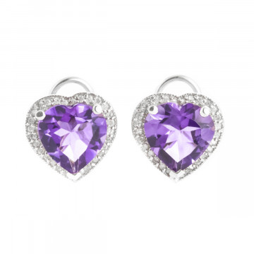 Amethyst French Clip Halo Earrings 6.48 ctw in 9ct White Gold