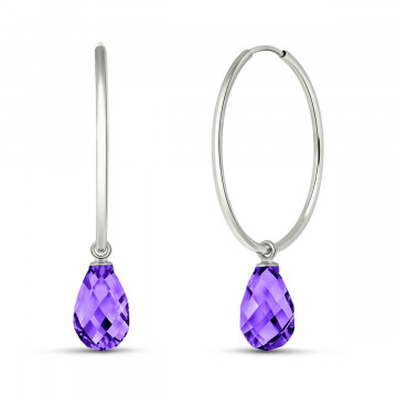 Amethyst Halo Earrings 4.5 ctw in 9ct White Gold
