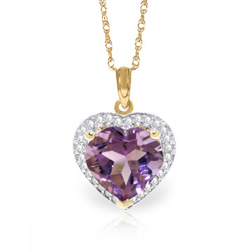 Amethyst Halo Pendant Necklace 3.24 ctw in 9ct Gold