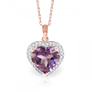 Amethyst Halo Pendant Necklace 3.24 ctw in 9ct Rose Gold