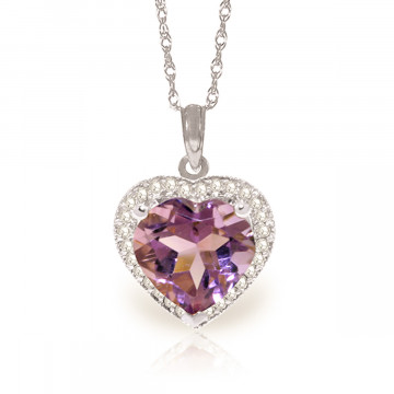 Amethyst Halo Pendant Necklace 3.24 ctw in 9ct White Gold