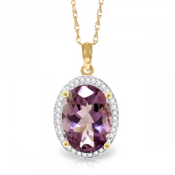 Amethyst Halo Pendant Necklace 5.28 ctw in 9ct Gold