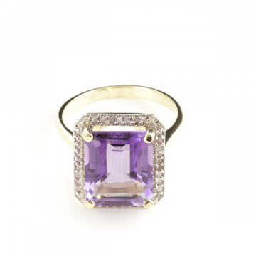Amethyst Halo Ring 5.8 ctw in 9ct Gold