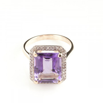 Amethyst Halo Ring 5.8 ctw in 9ct Rose Gold
