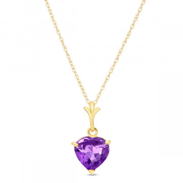 Amethyst Heart Pendant Necklace 1.15 ct in 9ct Gold