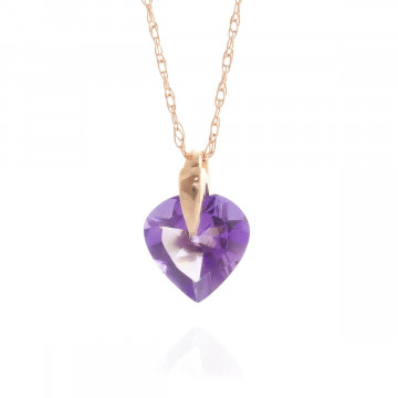 Amethyst Heart Pendant Necklace 1.15 ct in 9ct Rose Gold