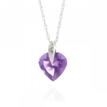 Amethyst Heart Pendant Necklace 1.15 ct in 9ct White Gold