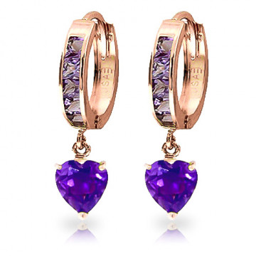 Amethyst Huggie Earrings 4.1 ctw in 9ct Rose Gold