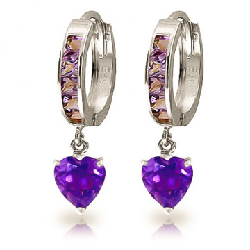 Amethyst Huggie Earrings 4.1 ctw in 9ct White Gold