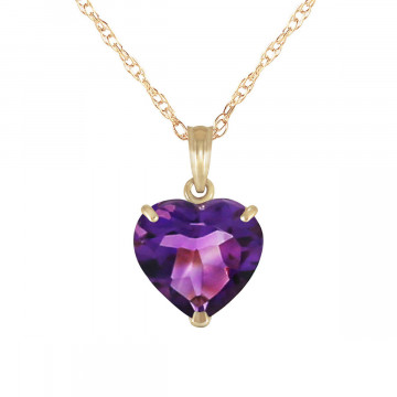 Amethyst Large Heart Pendant Necklace 3.1 ct in 9ct Gold