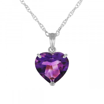 Amethyst Large Heart Pendant Necklace 3.1 ct in 9ct White Gold
