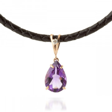 Amethyst Leather Pendant Necklace 6.01 ctw in 9ct Rose Gold