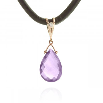 Amethyst Leather Pendant Necklace 6.51 ctw in 9ct Rose Gold