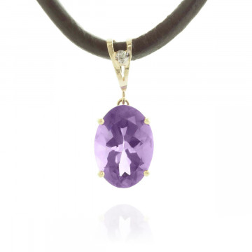 Amethyst Leather Pendant Necklace 7.56 ctw in 9ct Gold