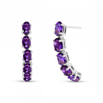 Amethyst Linear Stud Earrings 2.5 ctw in 9ct White Gold
