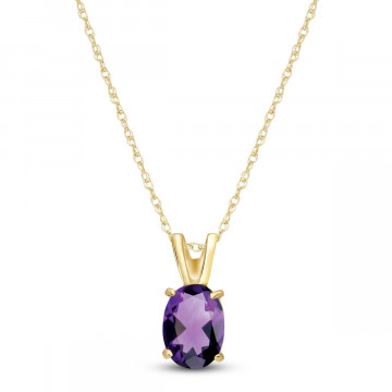 Amethyst Oval Pendant Necklace 0.85 ct in 9ct Gold