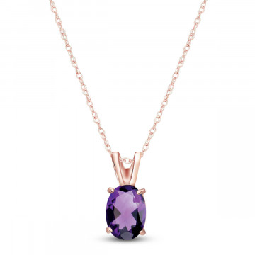 Amethyst Oval Pendant Necklace 0.85 ct in 9ct Rose Gold