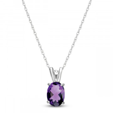 Amethyst Oval Pendant Necklace 0.85 ct in 9ct White Gold
