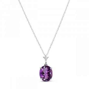 Amethyst Oval Pendant Necklace 3.12 ct in 9ct White Gold