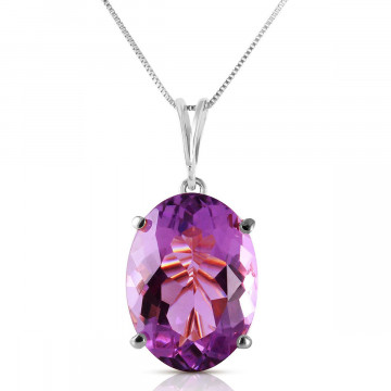 Amethyst Oval Pendant Necklace 7.55 ct in 9ct White Gold