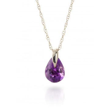 Amethyst Pear Drop Pendant Necklace 0.68 ct in 9ct White Gold