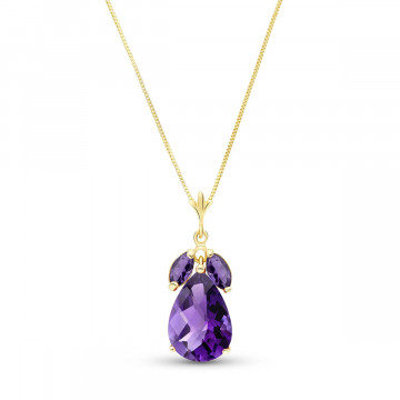 Amethyst Pear Drop Pendant Necklace 6.5 ctw in 9ct Gold
