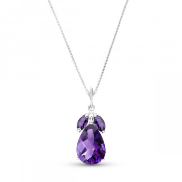 Amethyst Pear Drop Pendant Necklace 6.5 ctw in 9ct White Gold