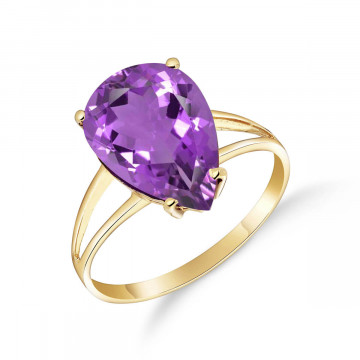 Amethyst Pear Drop Ring 5 ct in 9ct Gold