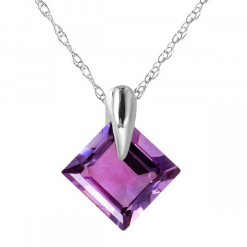 Amethyst Princess Pendant Necklace 1.16 ct in 9ct White Gold