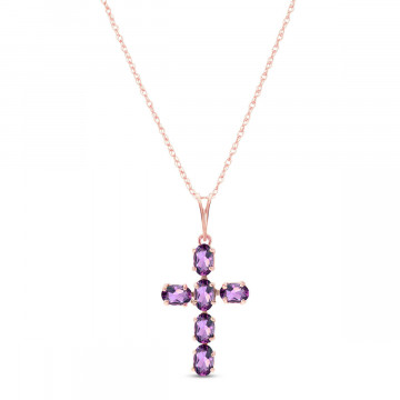 Amethyst Rio Cross Pendant Necklace 1.5 ctw in 9ct Rose Gold